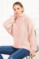 dámský pletený svetr růžový 6085