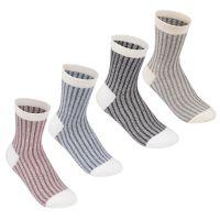 4 Pack Contrast Socks Ladies